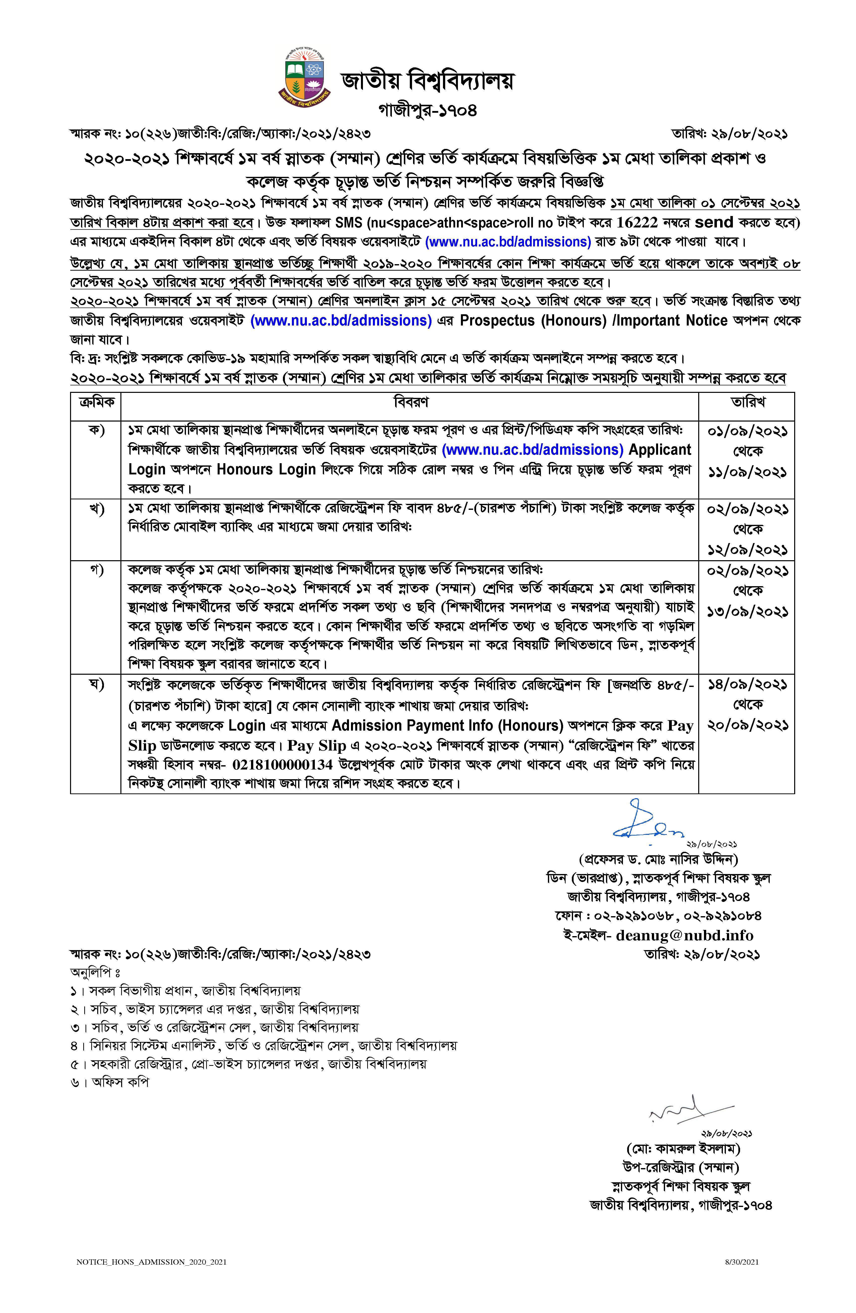 NU Admission Result 2021 Merit List for 1st Year Honours Admission